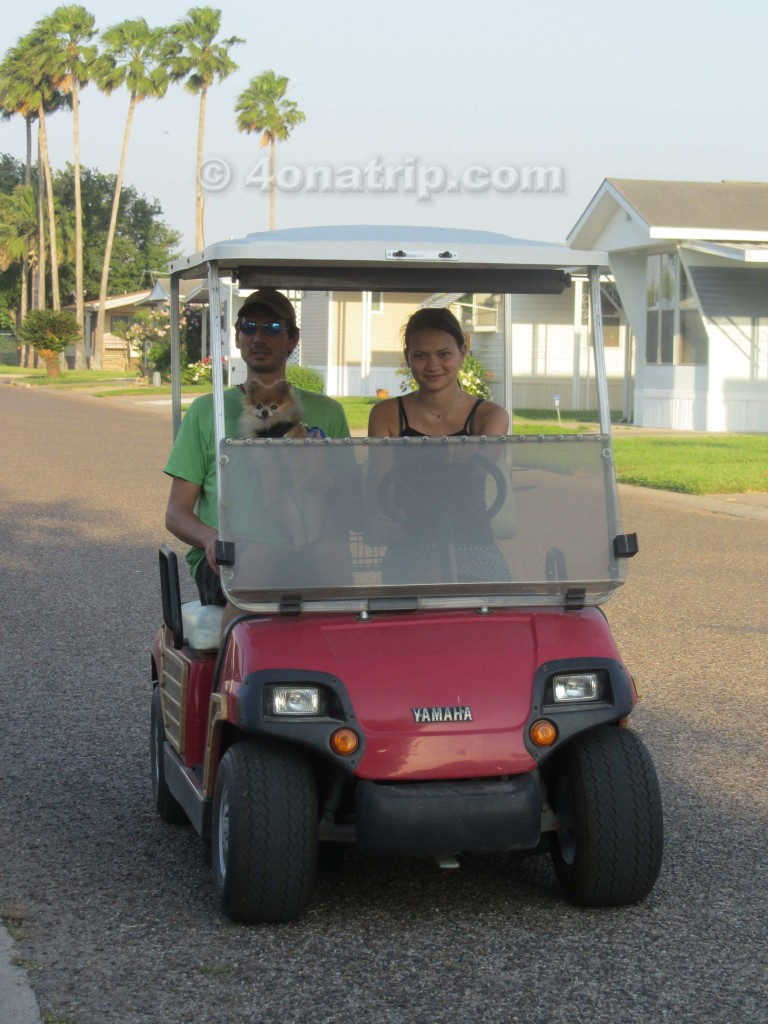 driving golf cart