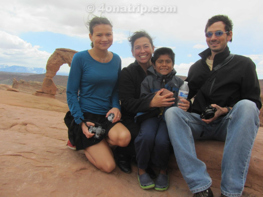 Arches National Park family near Delicate arch